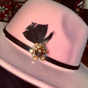Pale pink fedora hat